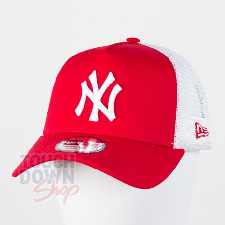 Casquette NY New York Yankees MLB clean trucker 2 9FORTY New Era rouge - Touchdown Shop