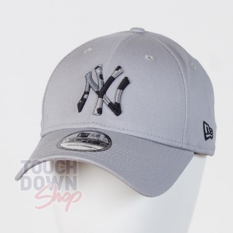 Casquette NY New York Yankees MLB camo infill 9FORTY New Era gray - Touchdown Shop